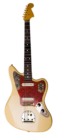 Retro electric guitar isolated on white