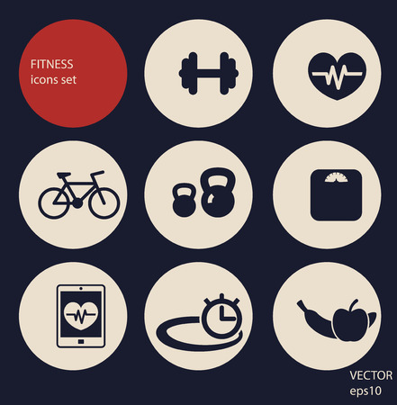 fitness equipment: fitness and health icons set