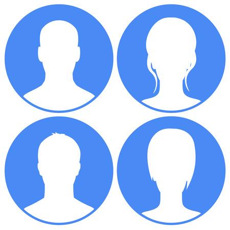 Blue Avatars set Vector