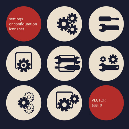 configuration: settings, configuration or preferences icons set Illustration