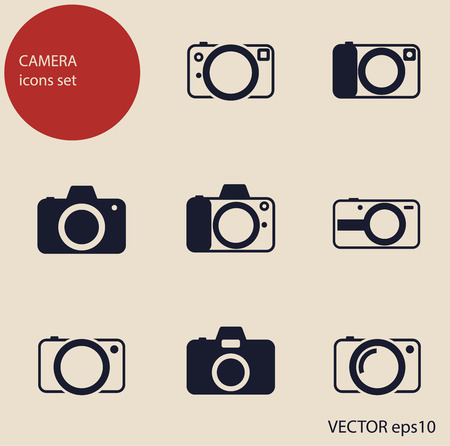 camera icons set Illustration
