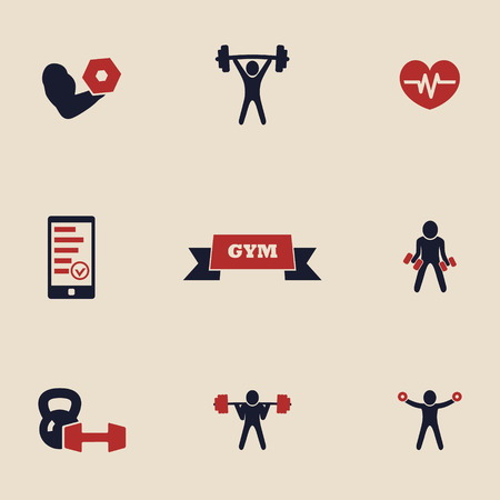 gym and fitness icons set Vector