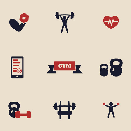 fitness equipment: gym and fitness icons