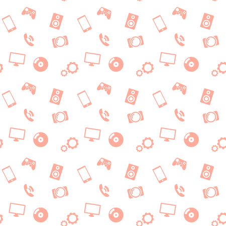 seamless pattern media red icons Vector