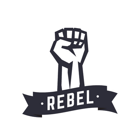 boycott: Rebel, t-shirt design, print, fist held high in protest.