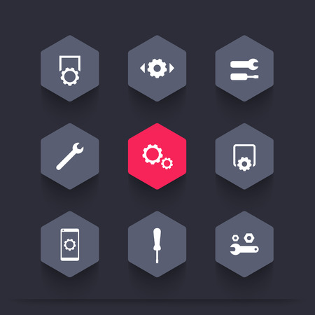 configuration: settings, configuration, preferences, hexagon icons set, illustration