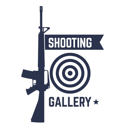 automatic: Shooting Gallery icon, isolated sign with automatic rifle, illustration