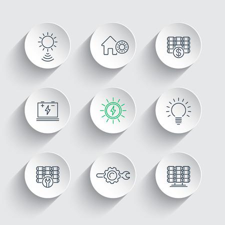 Energia słoneczna, energia słoneczna, panele, ikony liniowe na okrągłych kształtów 3d, Ilustracja
