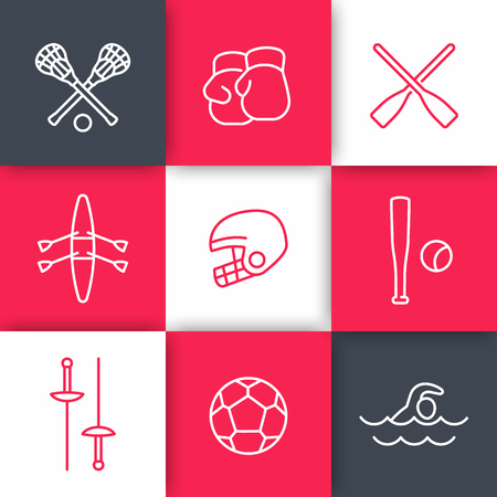 lacrosse: sports and games linear icons set on squares, illustration Illustration
