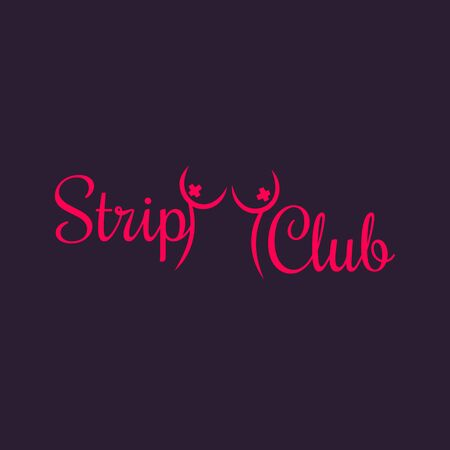 topless women: Strip Club sign, template, illustration
