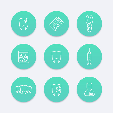 toothcare: Tooth, dental care, dental pliers, tooth-care, climatology, line aquamarine icons, illustration Illustration
