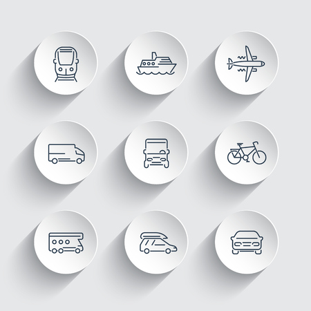 portage: Transport, car, van, bus, train, airplane line icons on 3d shapes, illustration