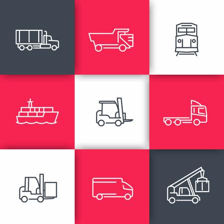 forklift: Transportation line icons, Cargo truck, Freight train, Forklift, illustration Illustration