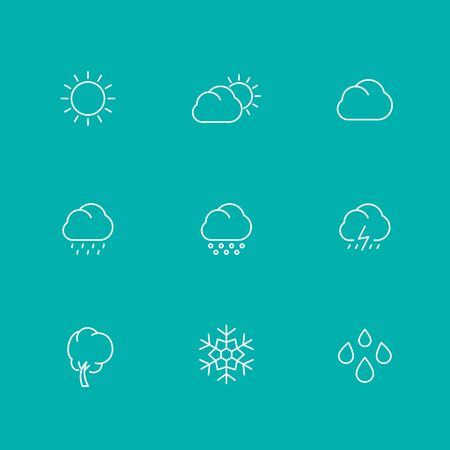 hail: Weather line icons, sunny, cloudy day, rain, hail, snow, wind, isolated set, illustration Illustration
