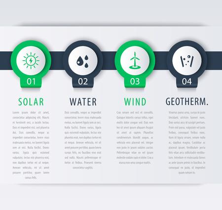 lments graphiques: Alternative energy solutions, solar, wind energetic, info graphic elements, timeline, illustration