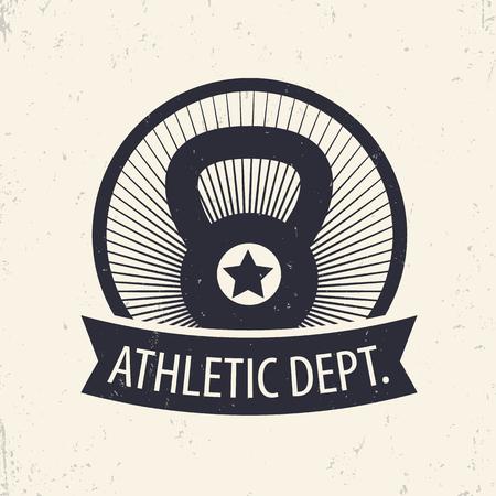 dept: Athletic Dept., fitness, gym emblem, sign in circle, illustration
