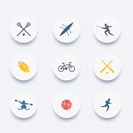 sports activities: College sports, activities, colored icons set, illustration