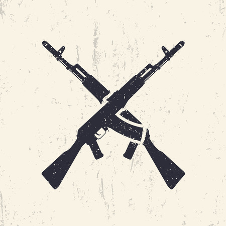 assault: crossed assault rifles, grunge design elements, illustration