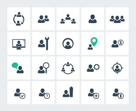 GERENTE: la gestión de personal, recursos humanos, recursos humanos, Paquete de iconos, ilustración Vectores