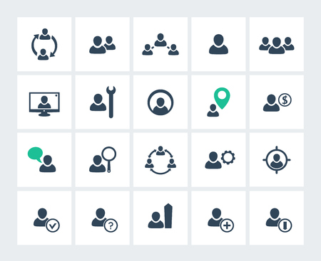 account management: Personnel management, human resources, HR, icons pack, illustration