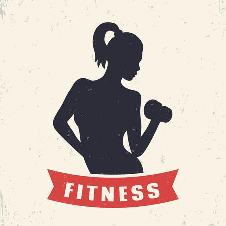girl illustration: Fitness emblem element with exercising athletic girl, illustration