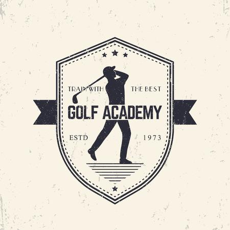Golf Academy vintage emblem, badge with golf player swinging golf club, illustration Illustration