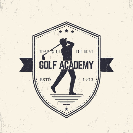 swinging: Golf Academy vintage emblem, badge with golf player swinging golf club, illustration Illustration