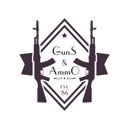gun control: guns and ammo, vintage logo, sign, badge with automatic rifles, illustration Illustration