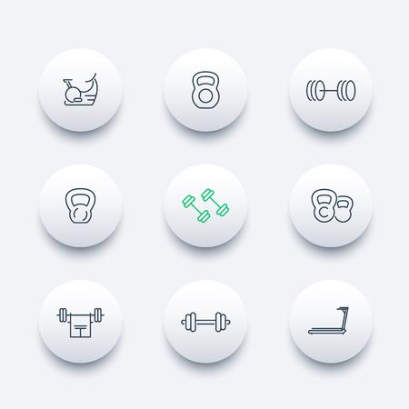 gym equipment: Gym equipment line octagon icons set, illustration