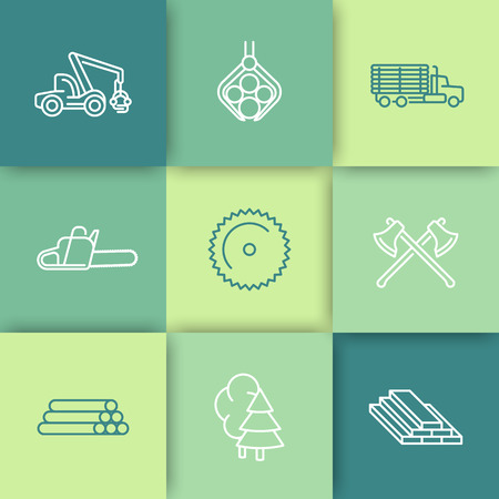 logging: Logging, Forestry, Timber, Tree Harvester, logging truck, line icons set, illustration Illustration