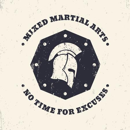 fighting styles: MMA, mixed martial arts grunge vintage octagon emblem, sign with spartan helmet, illustration