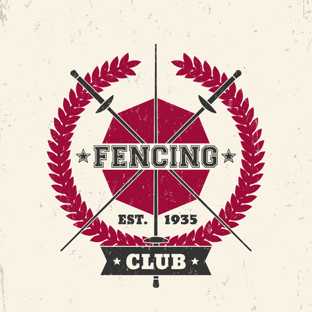 Fencing Club grunge emblem, sign, badge with crossed foils, illustration