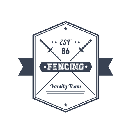 Fencing team vintage emblem, logo, badge, sign with crossed foils, over white, illustration