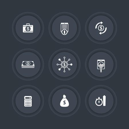 cost estimate: finance, investments, capital dark round icons set, illustration