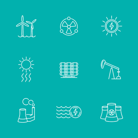 nuke plant: Power, energy production, nuclear energetic, electric industry, line icons, illustration