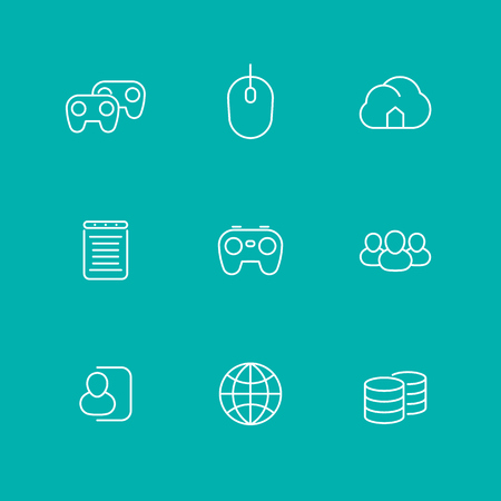 genossenschaft: video games, cooperative, multiplayer, video console gaming, line icons, isolated set,  illustration Illustration