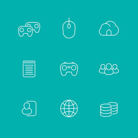 cooperativismo: videojuegos, cooperativo, multijugador, juegos de consola de video, iconos l�nea, aislado conjunto, ilustraci�n Vectores