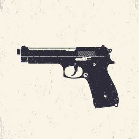 pistol, gun, modern semi-automatic pistol, handgun, illustration