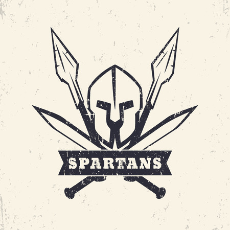 sword fight: Spartans, grunge logo, emblem with helmet, crossed swords and spears