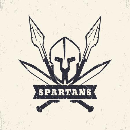 Spartans, grunge logo, emblem with helmet, crossed swords and spears