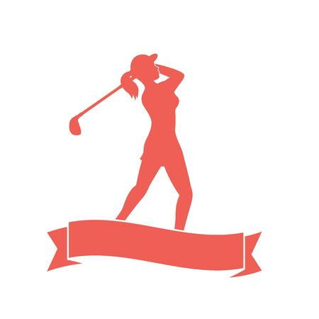 woman golf: female golf player, golfer swinging golf club,  Stock Photo