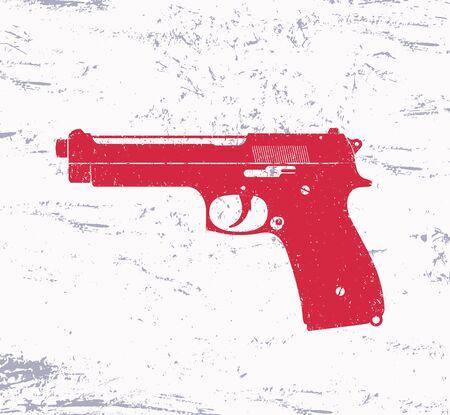 gun control: pistol, gun, with grunge texture