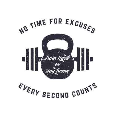 Train hard, vintage t-shirt design, print, kettlebell and barbell, with grunge texture, vector illustration 스톡 콘텐츠