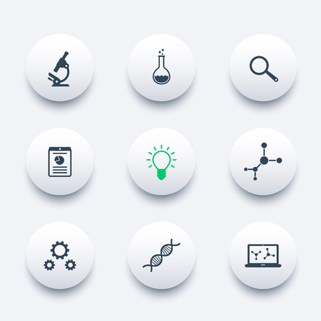 science icons: Science, research, laboratory round modern icons