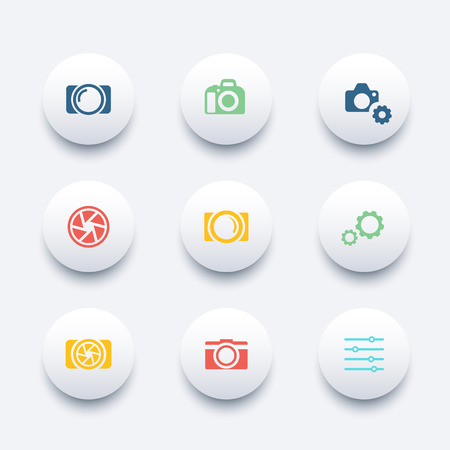 photography, camera, aperture round trendy icons, vector illustration