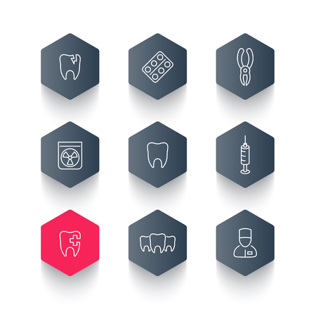 toothcare: Tooth, dental care, dental pliers, toothcare, stomatology line hexagon icons