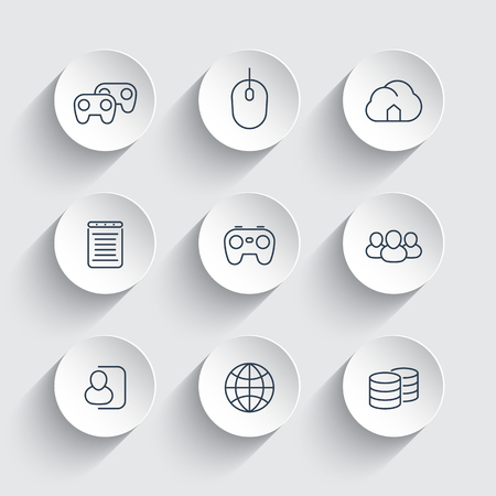 cooperative: videogames, cooperative, multiplayer, gaming, line icons on round 3d shapes