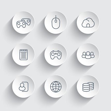 cooperativa: videojuegos, cooperativo, multijugador, juegos de azar, los iconos de l�nea en formas redondas 3d