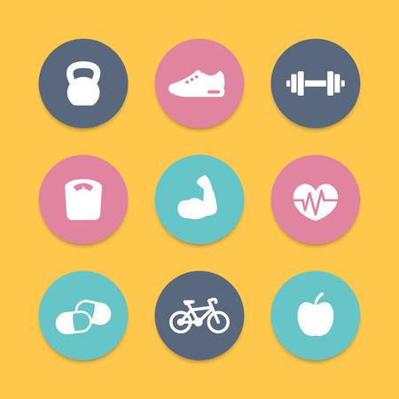 icono deportes: Aptitud iconos planos simples