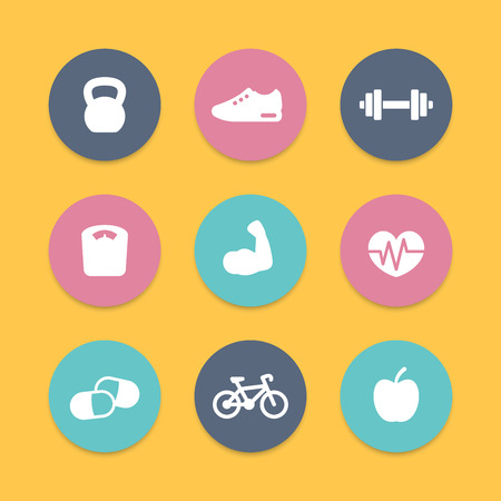 sports icon: Fitness simple flat icons